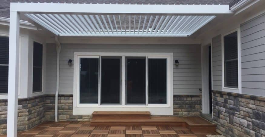 10'x20' Arcadia louvered roof over beautiful Ipe wood deck!