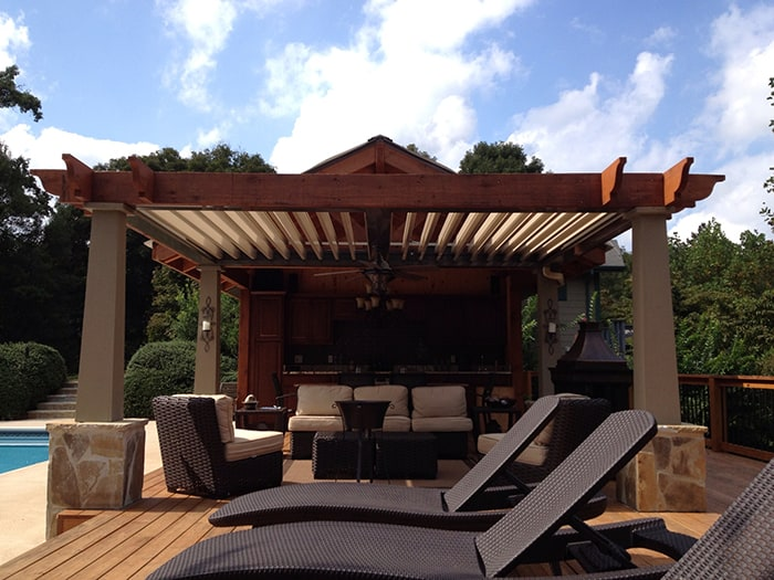 The Arcadia Pergola can be custom designed to meet any architectural style and there is a range of neutral colors.