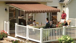 Cover your patio or deck with a traditional awning to enjoy your outdoor space more